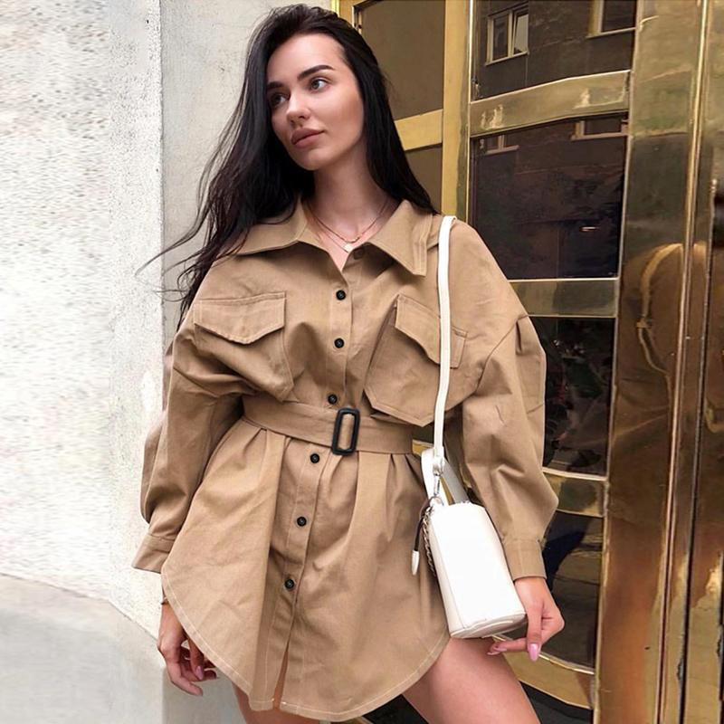 Casual Women Turtleneck Long Blouses Autumn Single Buttons Ladies Elegant Lace-up Fitted Waist Tops Shirt