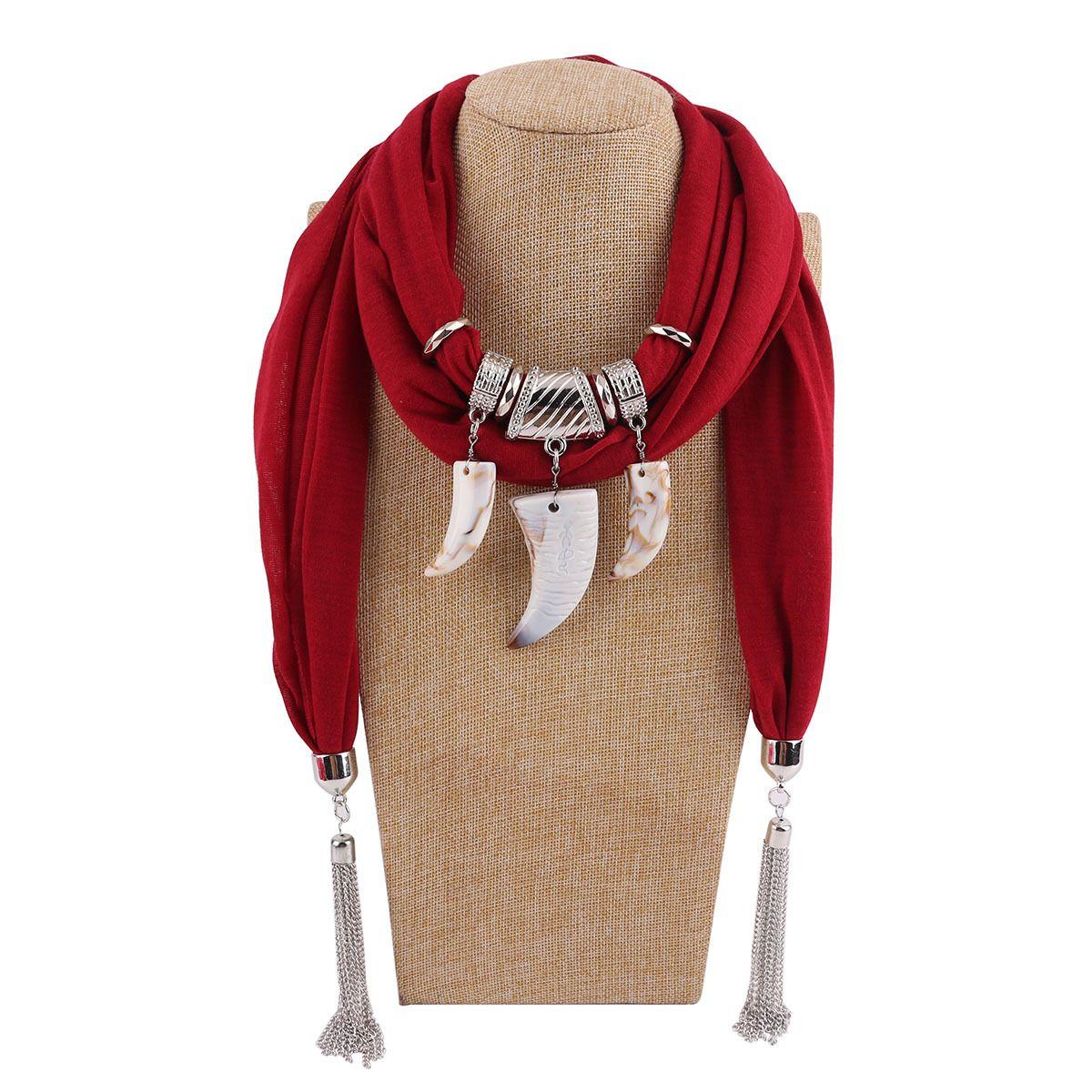 Pendants Necklaces Chiffon Scarf Woman/Ladies New Fashion Vintage Imitation Ivory Pattern Bohemian Style
