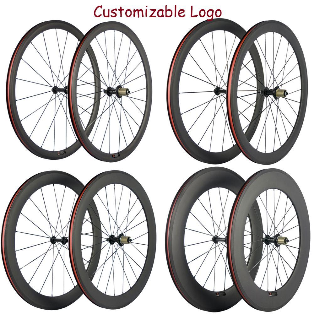 공장 판매 50분의 38 / 60 / 88mm 현무암 브레이크 표면 바퀴 탄소 도로 자전거 휠 세트와 R13 허브 23mm 바퀴