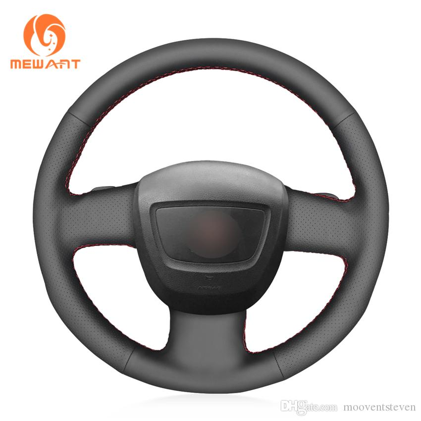 MEWANT Black Genuine Leather Car Steering Wheel Cover for Audi A3 (8P) Sportback A4 (B7) Avant A6 (C6) S4 Seat Exeo 2009-2012