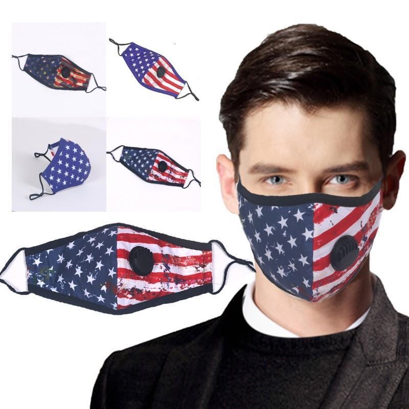 Amerikan Bayrağı Vana Değiştirme Filtre takın Baskılı FY9123 Maske Nefes kullanabilir miyim Pamuk Yeniden kullanılabilir Kül Maske tasarlanan