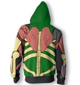 Harajuku Hipster Impresión 3D Anime Naruto Zipper Hoodies Hombres / Mujeres Cosplay Cardigan Sombrero Sudaderas Boy Casual Green Jacket ropa
