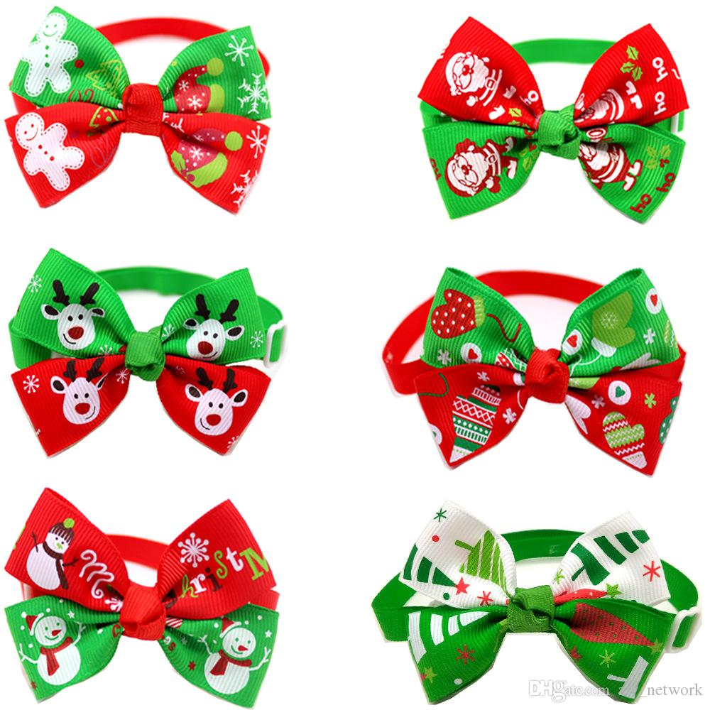 New Christmas pet collar two-tone adjustable pet necklace Santa Claus snowman pattern Christmas Tie for cat dog puppy Christmas decors A07