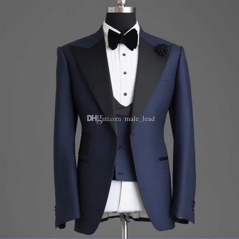 جديد وصول زر واحد رفقاء العريس الذروة التلبيب العريس البدلات الرسمية الرجال الدعاوى الزفاف / حفلة موسيقية أفضل رجل السترة (سترة + سروال + سترة + التعادل) 026