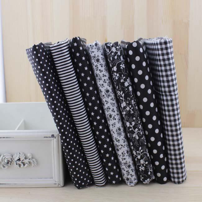 Booksew 7pcs 50cmx50 سنتيمتر النسيج القطني الأسود لخياطة حرفة الحياكة Tilda Doll Baby Cloth Textiles