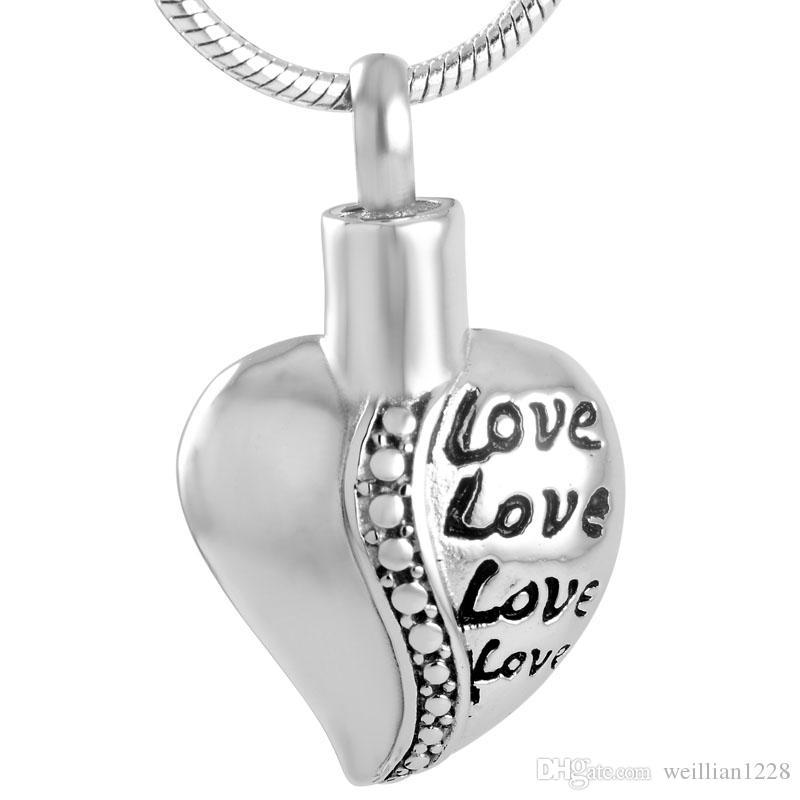 196silver Aşk Kalp Memorial Urn Keepsaker Takı Tut sevdiklerinizi Küller Paslanmaz Çelik kremasyonu Locket kolye İçin İnsan