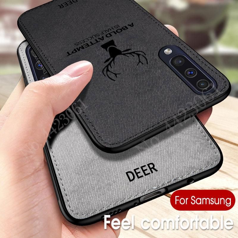 Deer Cloth Texture Phone Case on For Samsung Galaxy M30 A40S A60 A80 A70 A90 A40 A20 S10 Retro TPU Hard Back Cover Coque Fundas