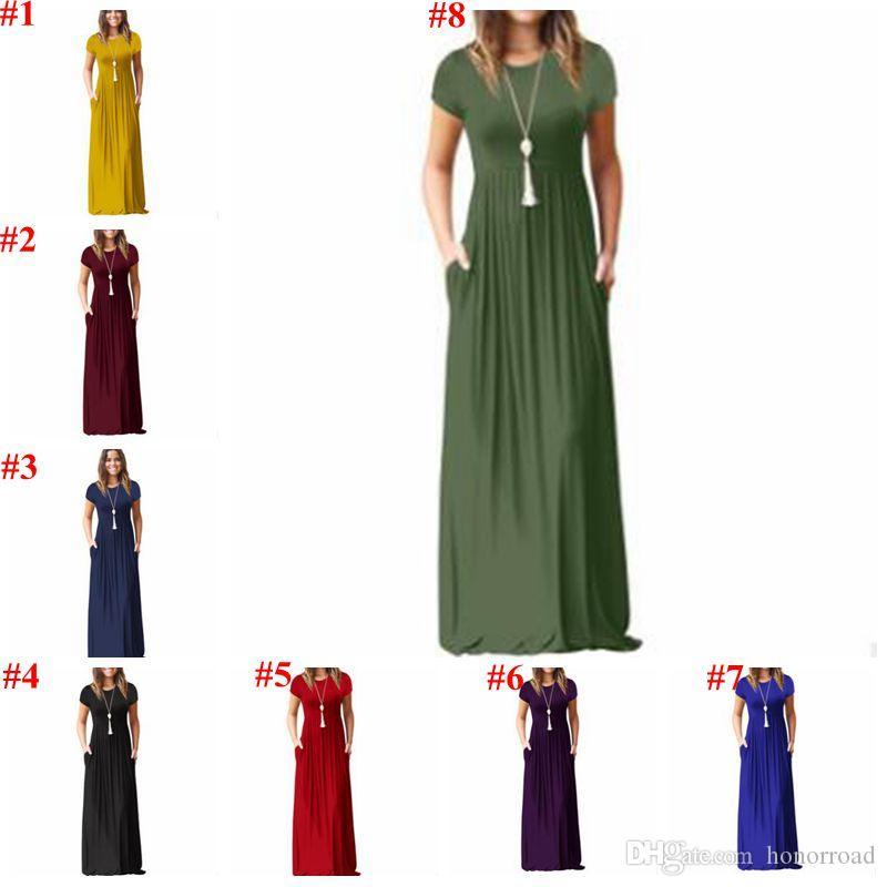 Женщины платья лета вскользь платья Maxi Long Твердая платье партии пляжа Sundress Дизайнер одежды женщин Одежда Vestidos 16 цветов CYL-B5983
