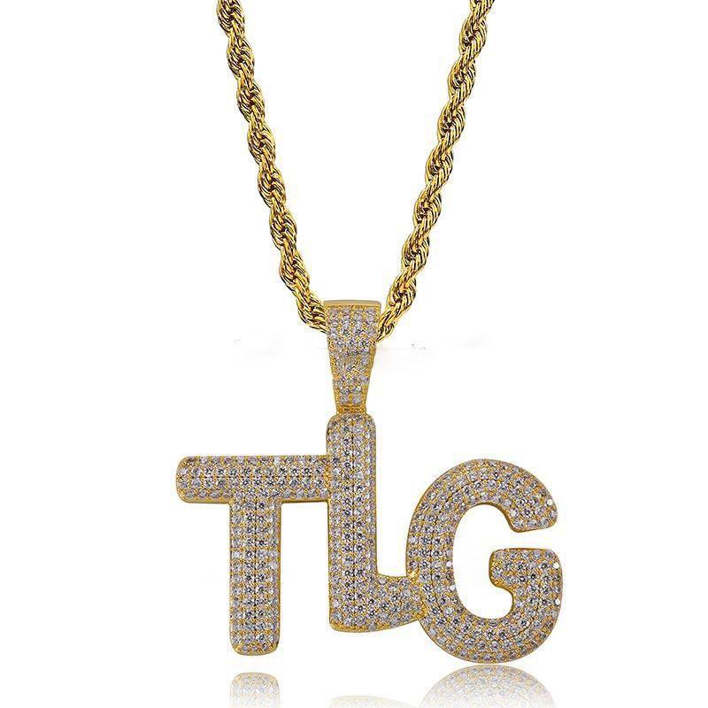 Cool TLG Pendentif Collier Pour Hommes 2019 Nouvelle Mode Hip Hop Bijoux En Plaqué Or Cubique Zircone Hiphop Collier Lettres