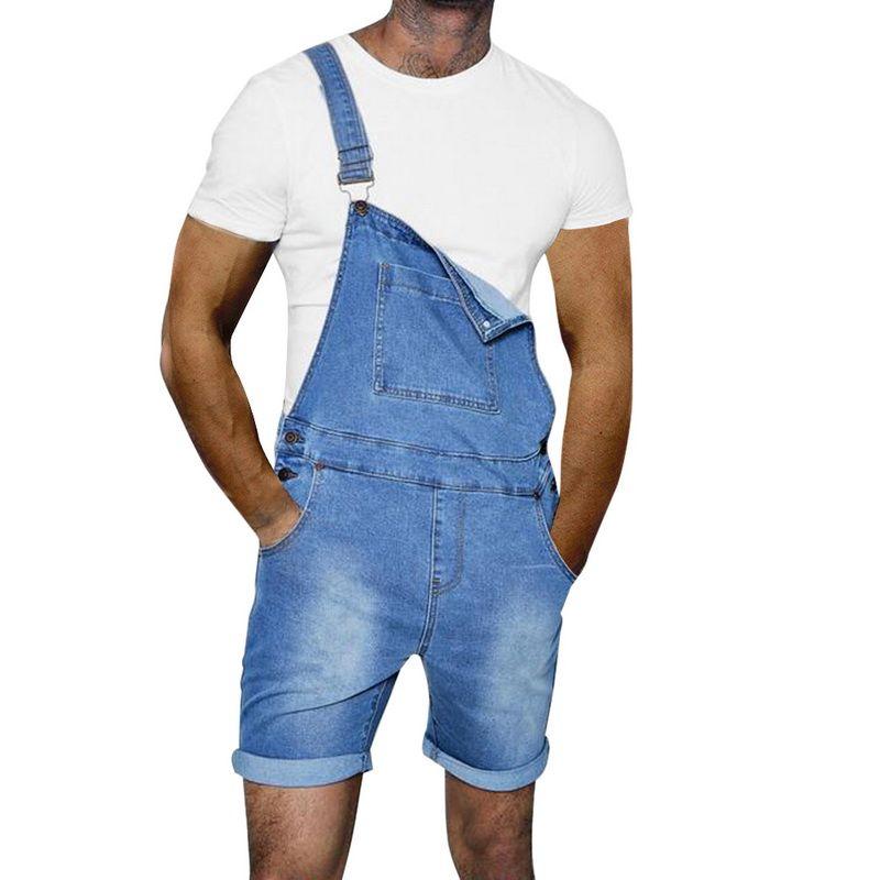 Compre Laamei 2019 Hombres De La Marca Jeans Overol Jeans Para Hombre Mono Verano Disimpreso Denim Bib Overol Jeans De Moda De La Liga Pantalones A 42 02 Del Mj Covenant Dhgate Com