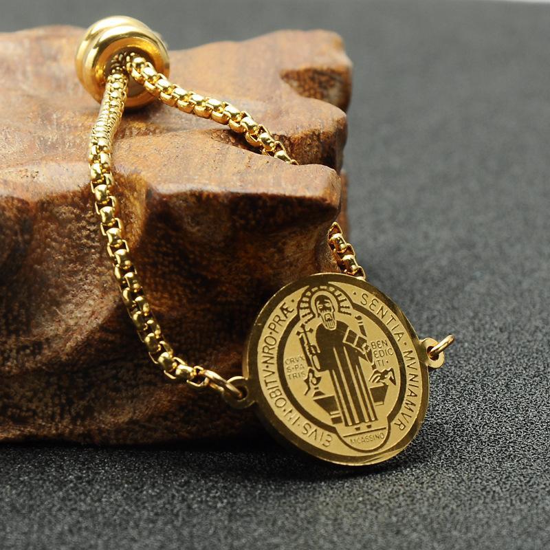Mens Hip Hop-runde hängende Armband-Weinlese-Punk-Kreuz-Charme-Armband-Edelstahl-Goldfarben-Armband-Schmucksachen für Männer Frauen