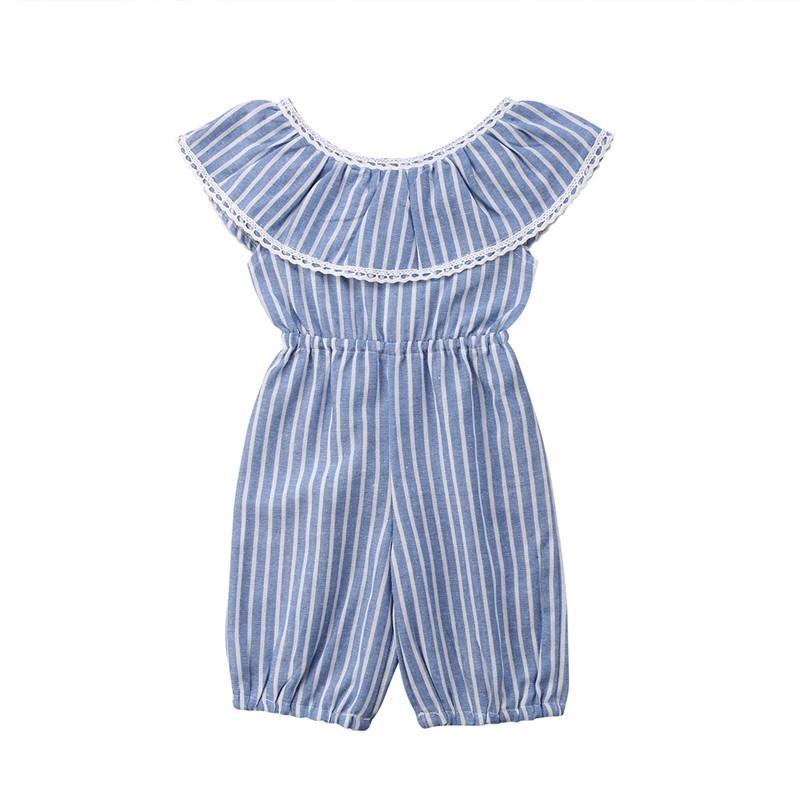 Pudcoco listradas da criança Meninas Romper listrado azul Princesa Verão Macacão Outfits roupas sem mangas Ruffles Cotton macacãozinho Nova