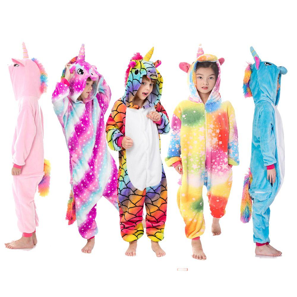 Boys Girls Unicorn Flannel Pajamas Children Sleepwear animal Pyjama Panda 4 6 8 10 12 Years Flannel Animal Kids Onesie