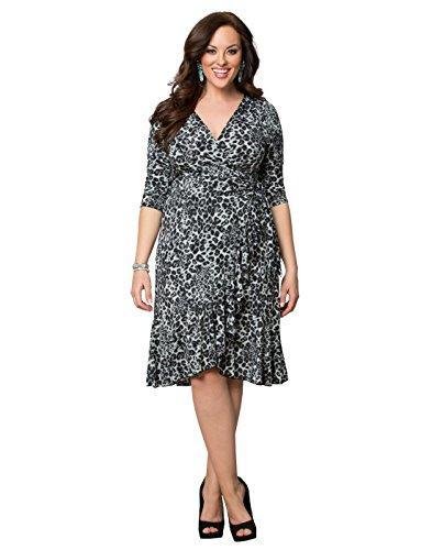 Kiyonna Women\'S Plus Size Flirty Flounce Wrap Dress Long Sleeve White And  Gold Dress Women Floral Dress From Bearlittle, $116.09| DHgate.Com