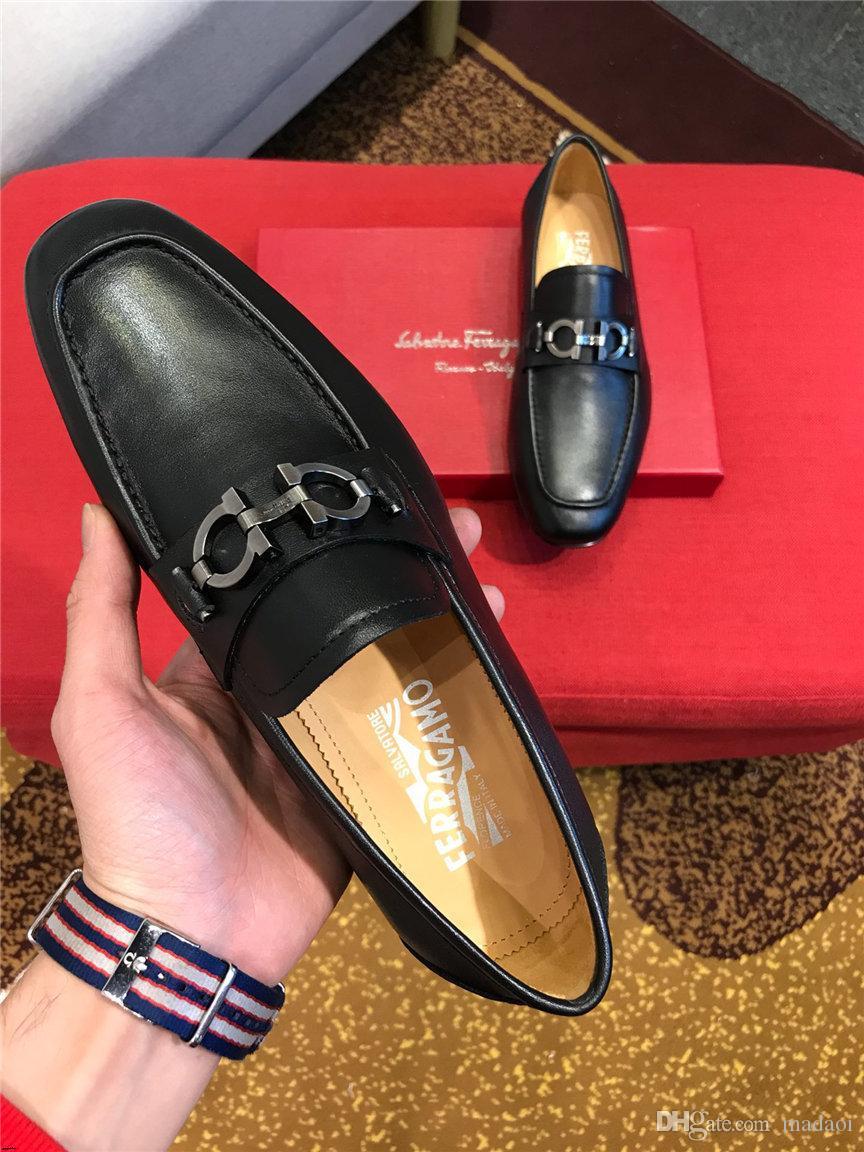 19SS erkek ayakkabı Lüks İtalyan Stili Sivri Burun Örgün Düğün parti Casual Kayma-İş hakiki Deri Man Ayakkabı elbise
