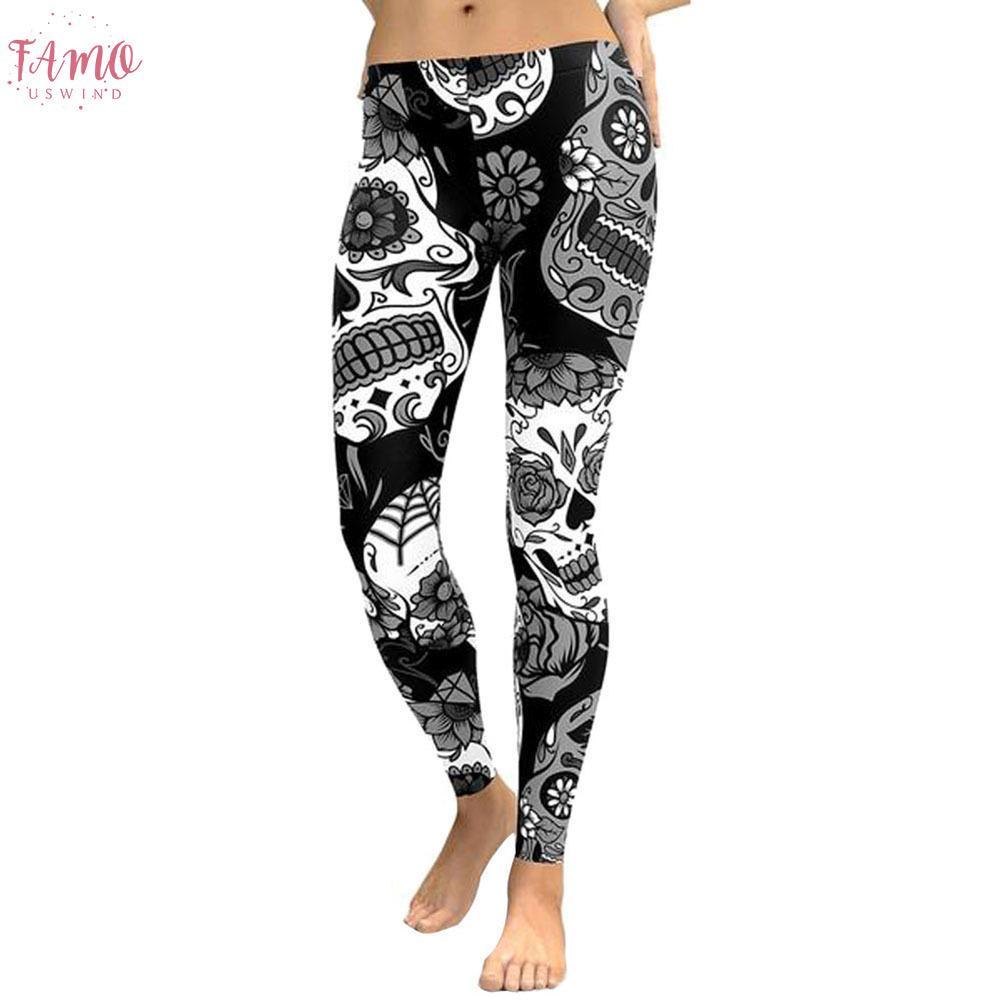 Bohemia Moda Kadınlar Legging Pantolon Kafatası Çiçek 2019 T Tozluklar Spor Tozluklar Kadınlar Pantolon İnce Pantolon yazdır