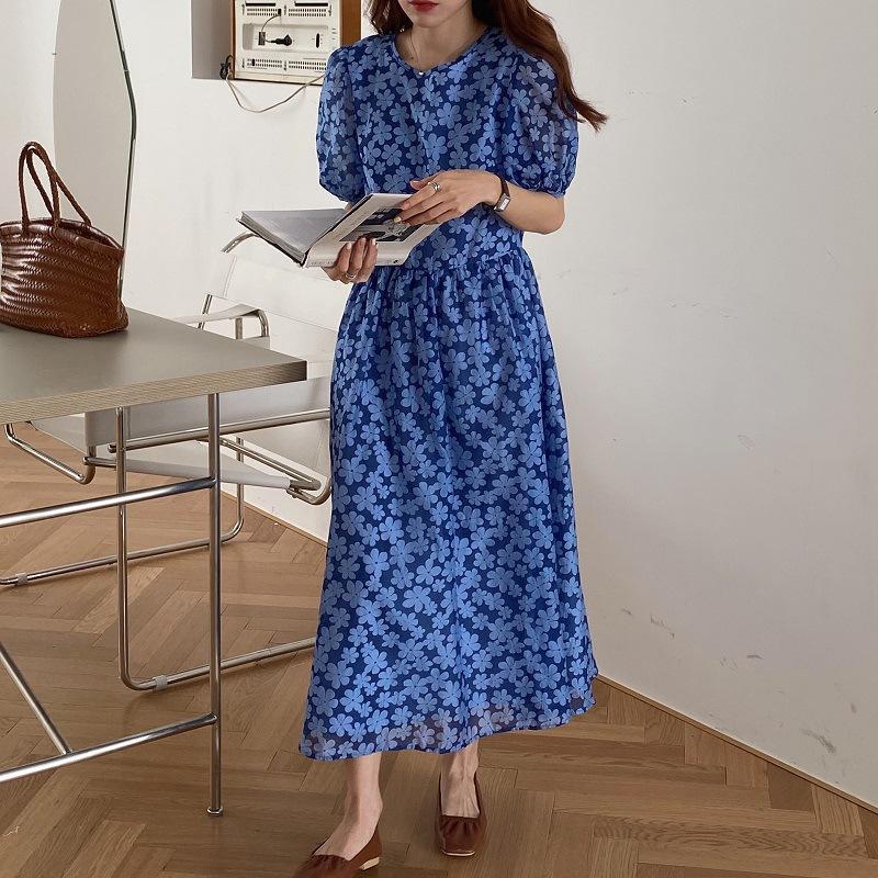 puf kollu yazlık elbise kadınlar yüksek bel ince elbiseler yeni yukarı toptan bağbozumu çiçek elbise sırtı açık dantel