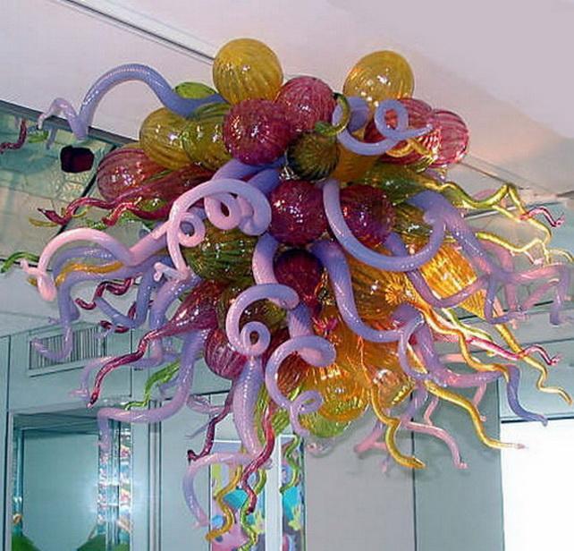 Главная Декоративные Старинные Промышленные Подвесные Подвесные Лампы Многоцветные Стеклянные Люстры Чихули Стиль Ручной Выдувное Стекло Висит