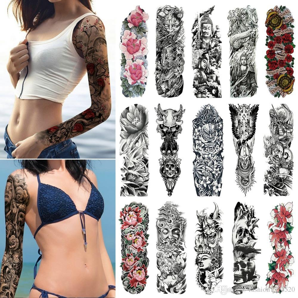 Large Arm Sleeve Tattoo Waterproof Temporary Tattoo Sticker Skull Angel Rose Lotus Men Full Flower Tatoo Body Art Tattoo Girl Body Art Temporary