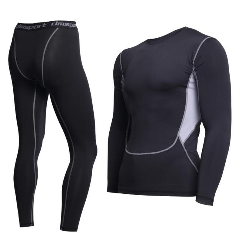 Marka Yeni termal iç çamaşırı erkek iç çamaşırı setleri sıkıştırma polar ter hızlı kuruyan termo Fitness giyim erkek kış giysileri SH190905