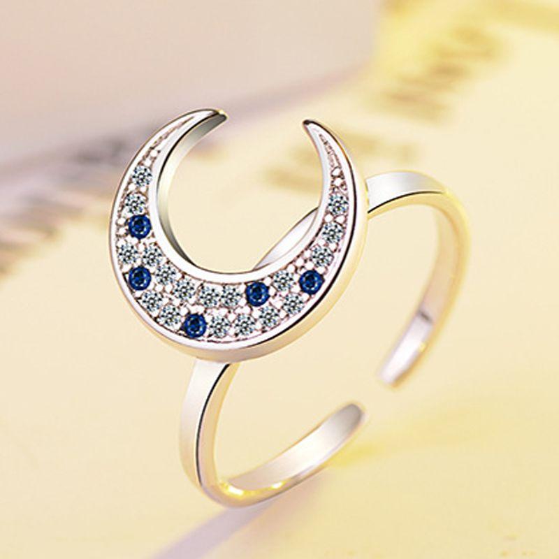 Mode Argent 925 redimensionnables Bagues de femmes mosaïque bleue CZ Zircon lune Anneaux Bijoux Cadeaux BAGUE femme