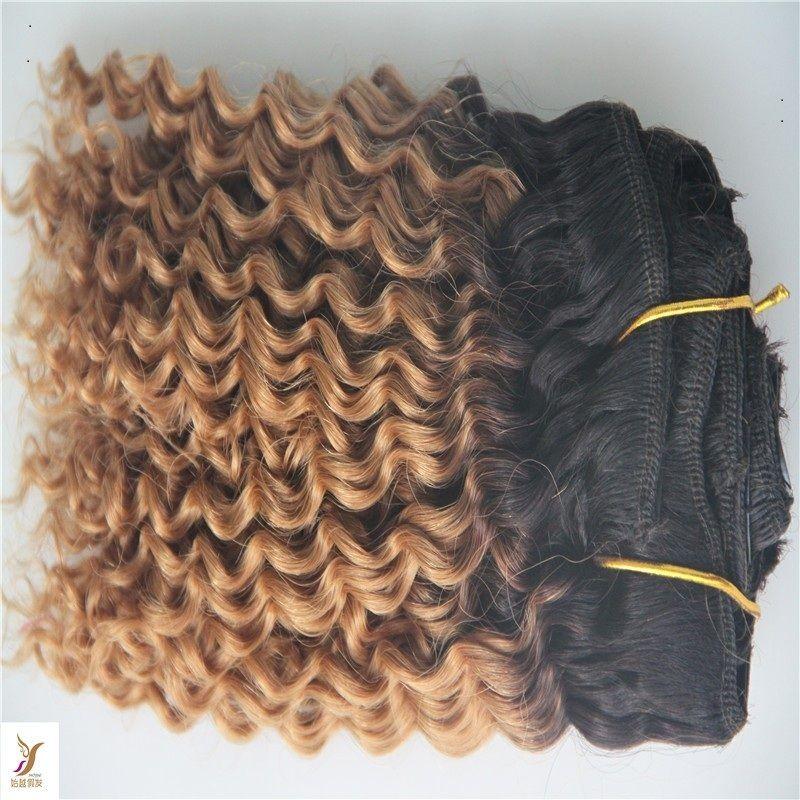 T1/6 Color Brazilian Deep Wave 100% Brazilian Human Hair Extensions 7a Double Weft Hair Weave Bundles
