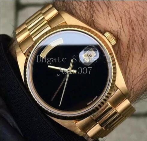 Hot Montres Mouvement automatique cadran noir Montre en or Mens Watch en acier inoxydable de 40 mm Hommes Daydate Montre