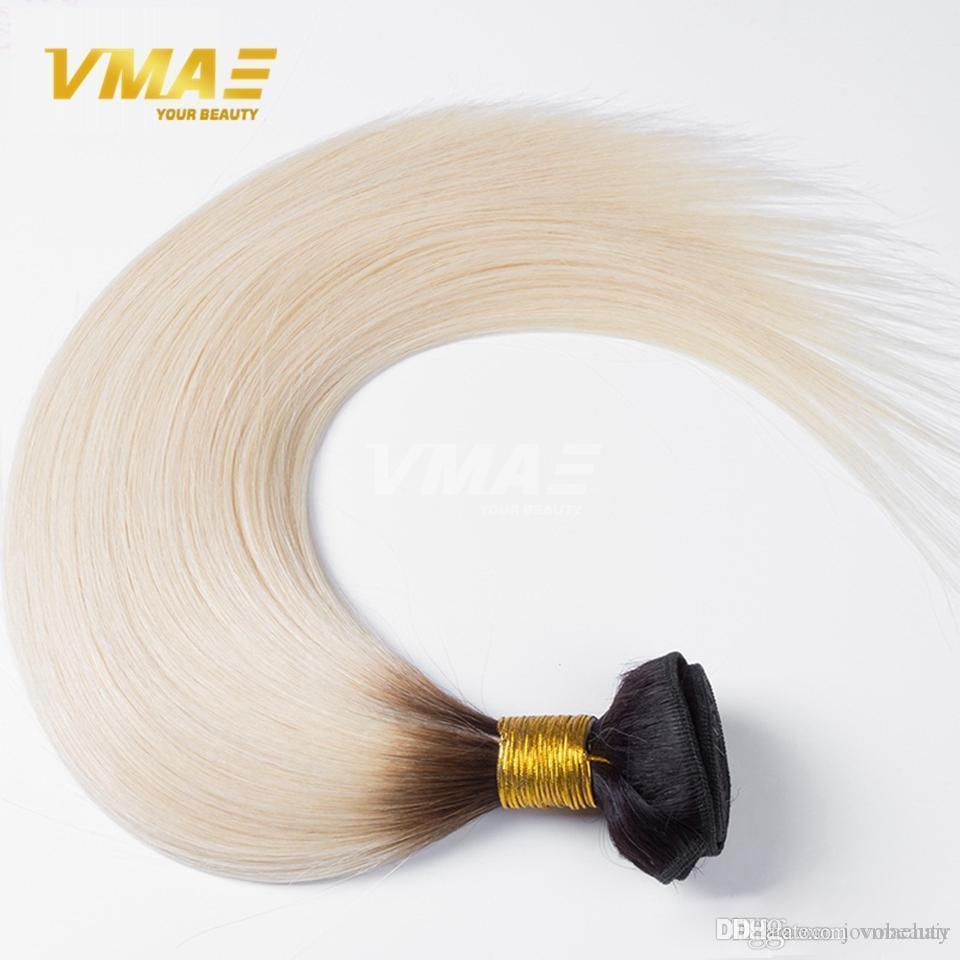 Brazilian virgin Hair Straight 100g 1B 60 Ombre Bundle Human Hair Bundles Two Tone Sew in Human Ombre Weave Hair opp
