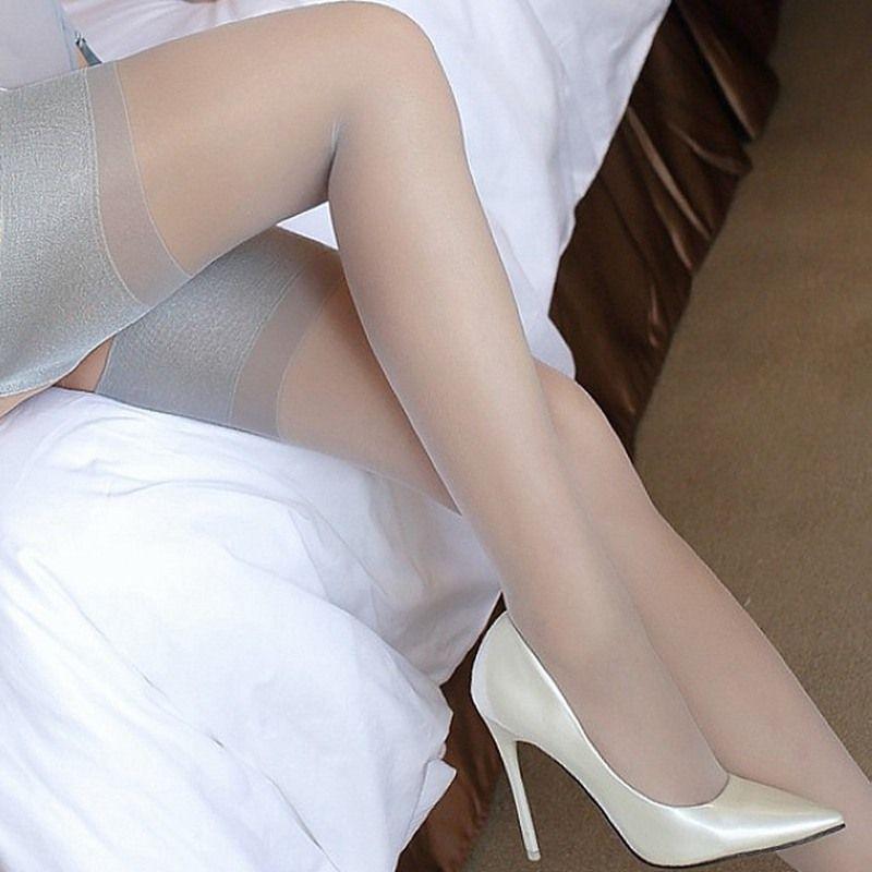 Socks & Hosiery Women Wide Rib Top Cuff Sexy Stockings Transparent Silk Stocking Ladies Thigh High Medias 9013