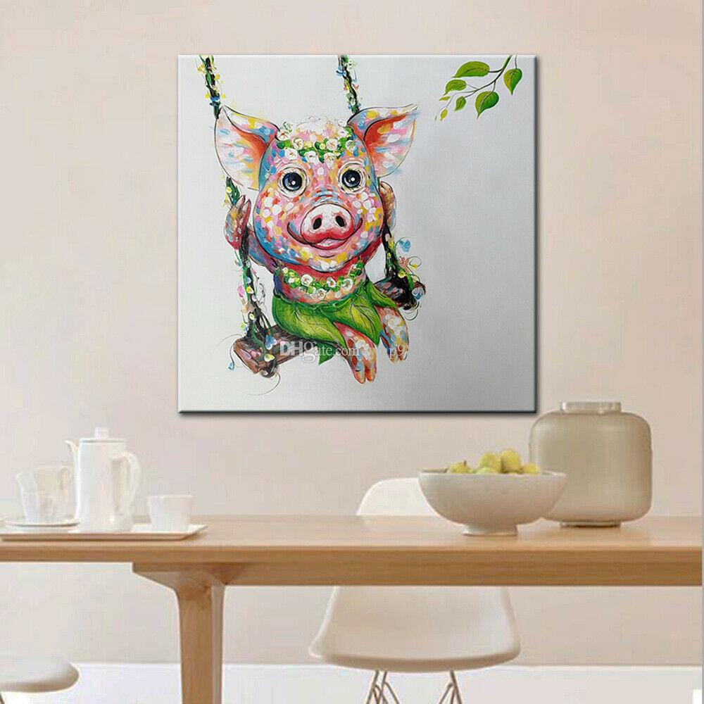 -1-0057# Framed & Unframed Mintura A Pig on A Swing Home Decor Handcrafts /HD Print Oil Painting On Canvas Wall Art Canvas Pictures