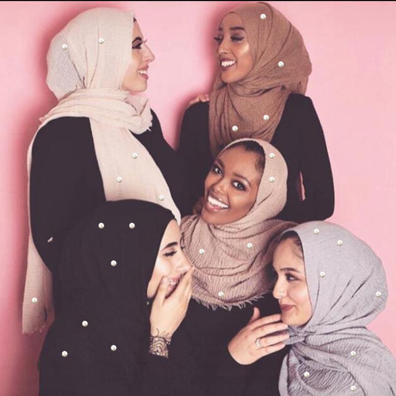 190 * 100 centímetros Mulheres Plain bolha Algodão Beads Rugas Xaile Sólidos Crumple Pérola Enrole Pashminas Headband Foulards muçulmano Hijab Scarf