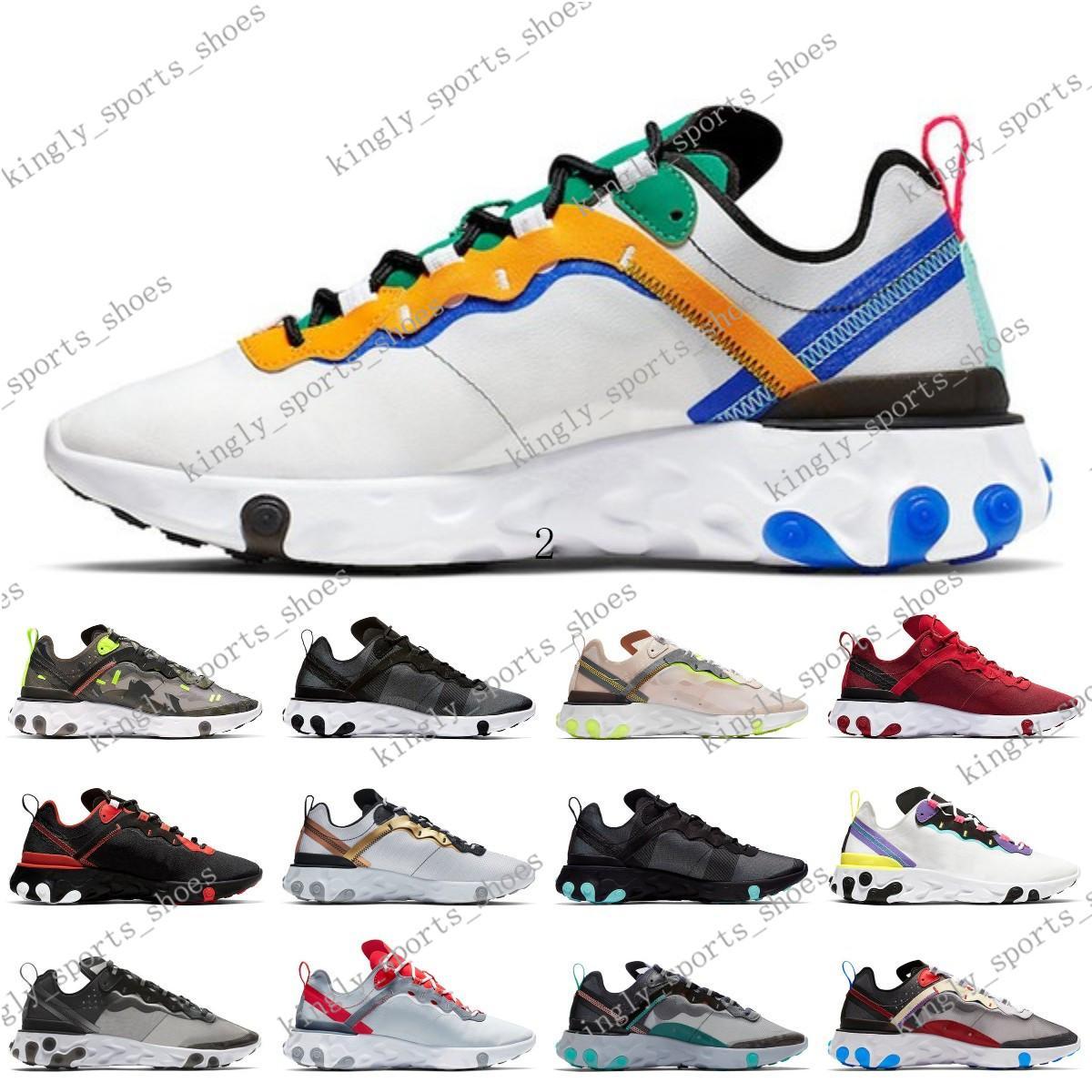 2020 elemento 87 55 executando sapatos para homens mulheres Luz óssea triplo preto produzido Hiper-de-rosa das sapatilhas dos homens treinadores desportivos corredor 200630C001-2