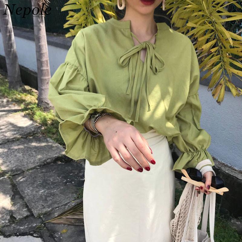 Neploe Lace Up Flare femme manches Chemisier Casual vrac Vintage massif 2020 Printemps Automne Nouveau mode élégant T-shirt 69251