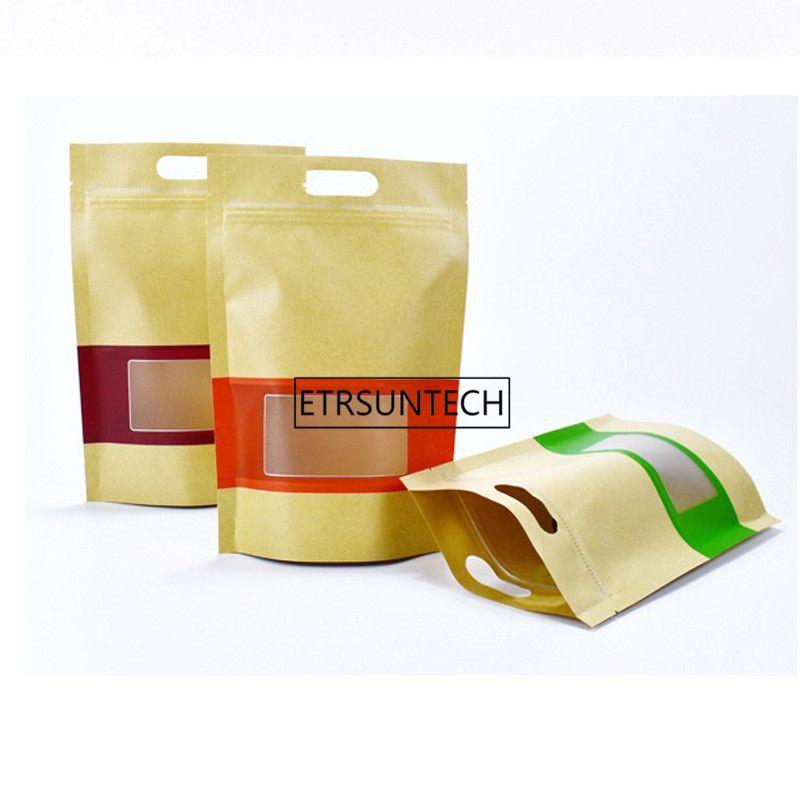 300pcs Большого Упаковка Kraft Paper Window сумка с ручкой Встаньте подарок Сухофруктами упаковки чехлов Zipper самоклеющихся