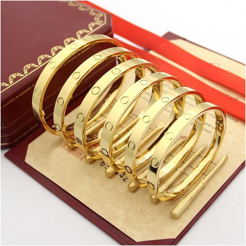 التيتانيوم الصلب الحب أساور الفضة وردة نوع ذهب أساور النساء الرجال برغي مفك سوار زوجين مجوهرات فاخر مصمم مجوهرات مع صندوق