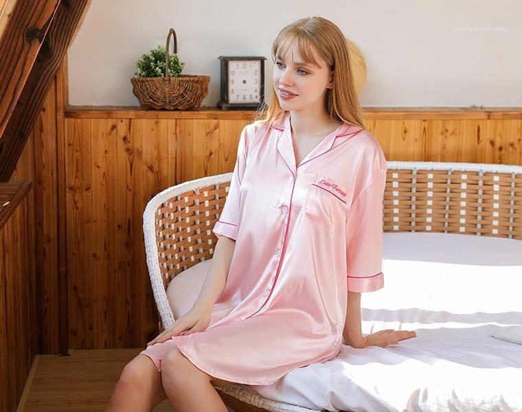 Respirant demi manches de nuit Femme Vêtements Femmes Styliste Nightgown Printemps Automne Cardigan Nightcoats Sexy lâche