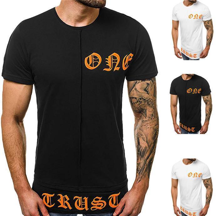 Imprimir para hombre camisetas del diseñador de cuello redondo manga corta Negro Tops Hombres Casual Tees verano con paneles Carta