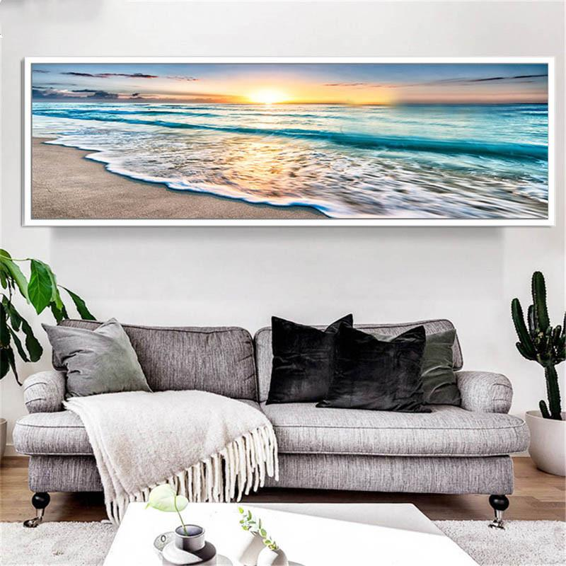 5D DIY quadratische rund Diamant-Malerei Große Größe Verkauf Seascape Strand-Welle Sonnenaufgang über Meer Art Set Mosaik Diamant-Stickerei AS2