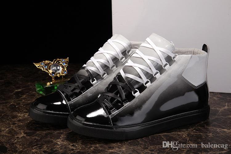 Lüks Marka Arena Sneaker Moda Gelecek Kanye West Gradyan Gerçek Deri Erkek Casual Koşu Ayakkabı 2019 Sıcak Satış Erkekler Yüksek Üst Snea