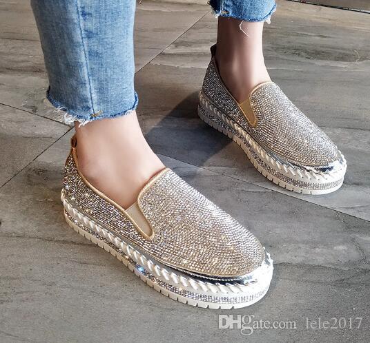 2020 bahar yeni Kore moda net kırmızı eğlence elmas taklidi kalın dip bir pedal tek ayakkabı vahşi rahat eğilim sokak çekim öğrenci