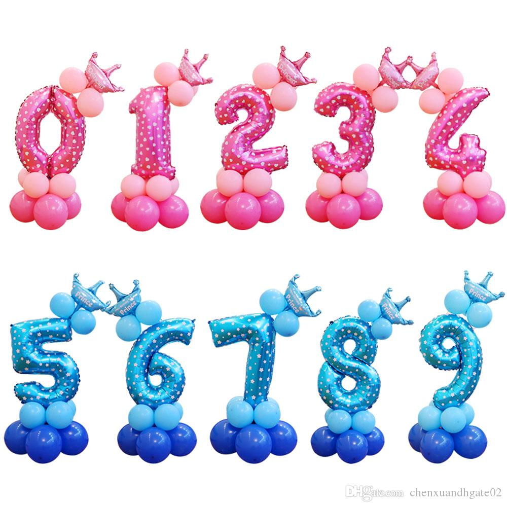 13 teile / satz Geburtstag Ballons Blau Rosa Anzahl Folienballons 1 2 3 4 5 6 7 8 9 Jahre Happy Birthday Party Dekorationen Kinder ballon