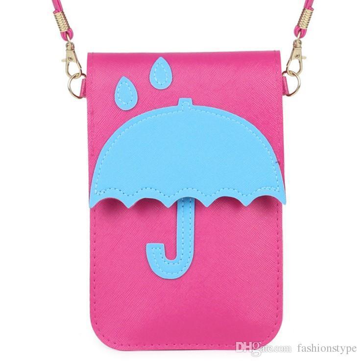 أزياء النساء الفتيات الكتف حقيبة crossbody مصغرة رسول مظلة مظلة الكرتون بو الجلود حقيبة يد الهاتف أعلى جودة
