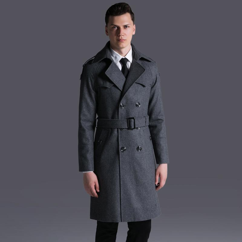 OLN Mens Coats Luxury Double Breasted Solid Thick Mens Jackets And Coats Plus Size 6xl Adjustable Waist Man Trench With Belt