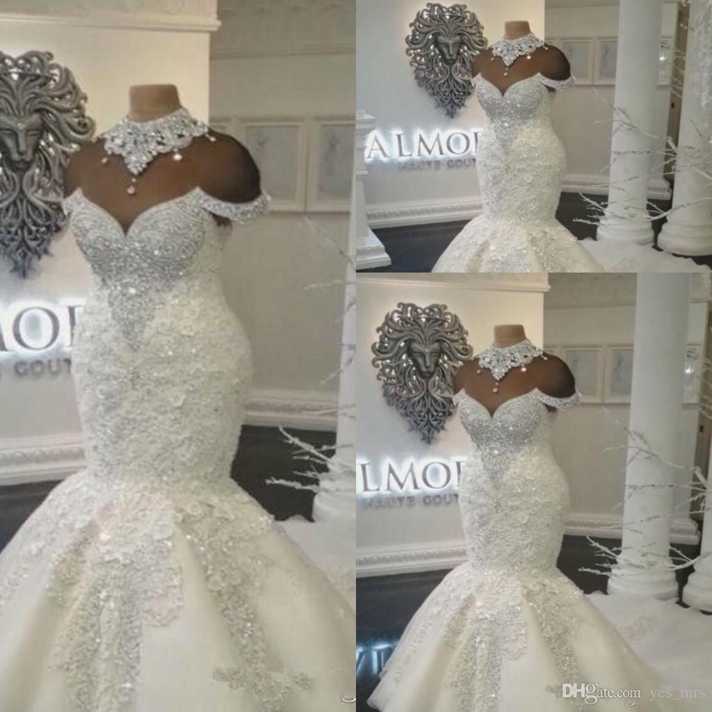 Luxo Dubai Árabe Sereia Vestidos De Noiva de Cristal Presas fora do Ombro Lace Appliques Vestido de Noiva Plus Size Custom Formal Vestidos Noiva