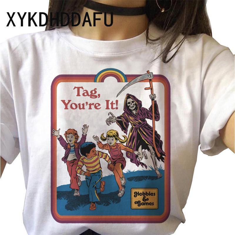 Şeytan Tişörtlü Ölüm Demon Kadınlar Harajuku Korku Korku Satanizm Reaper Tişörtü Grim Baphomet Satanist Tişört Evil Kadın Üst Tees