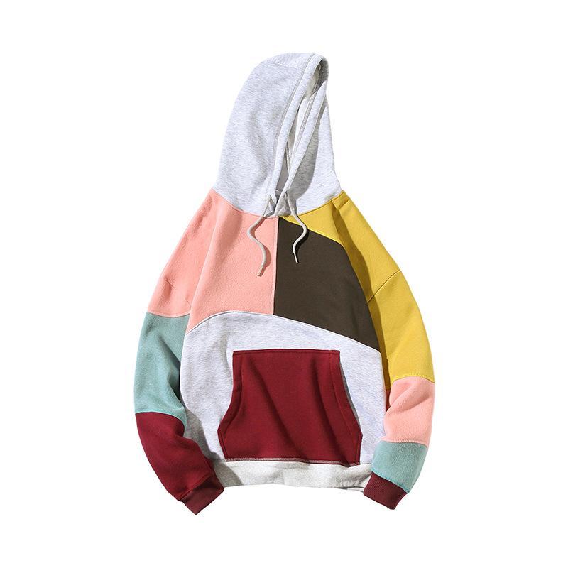 Erkekler Hoodies Casual Erkek Kapşonlu Patchwork Sweatshirt Moda Erkekler Kazak Gevşek Kontrast Renk Hoodie 2 Renkler Artı boyutu M-5XL