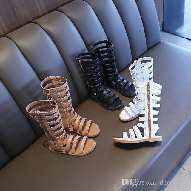 Nouveau Chaussures Enfant Mode Printemps Infant / Tout-petit / Enfant / Mode Enfants Sandales Gladiator Noir / blanc / marron Bottes bébé fille d'été 4-12ans