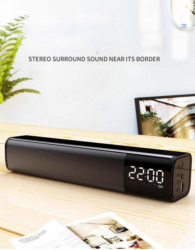 새로운 컴퓨터 스피커 시계 알람 시계 무선 블루투스 스피커 휴대 전화 자동차 서브 우퍼 노트북 작은 오디오