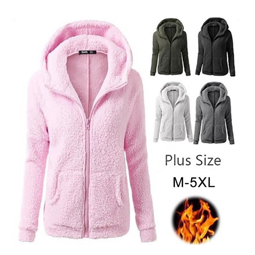 Hoodies Plush Long Sleeve Women Coat Autumn Winter Plus velvet thick casual plush sweater hooded sweater coat Short slim jacket