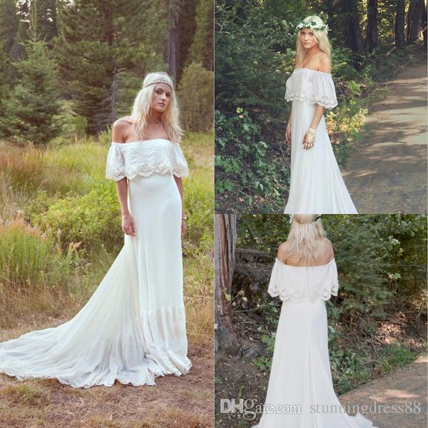 Bohemian Brautkleider der Schulter Land Stilvolle mit kurzen Ärmeln Chiffon Spitze Sweep Zug Hochzeit Brautkleider